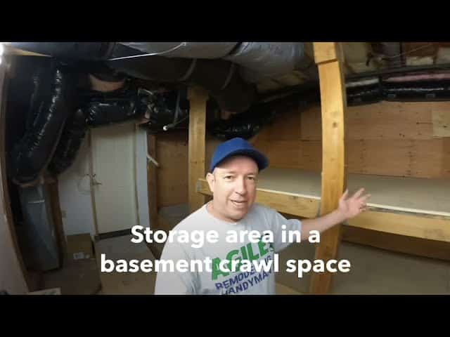 Storage area in a basement crawl space